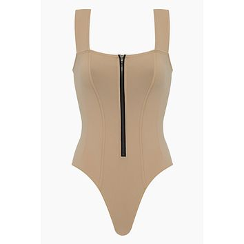 Kelsey Zippered Front High Cut One Piece Swimsuit - Nude