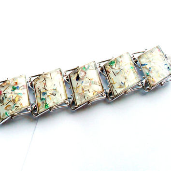 Confetti Lucite Bracelet Wide Panel Vintage Runway Inset Silver Tone Signed Pam Large Link Pastel Inclusions Gold Glitter