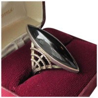 Chunky Big Vintage 1970's Sterling Silver & Black Onyx Ring