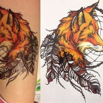 ac DCCKO2Q 2016 21 X 15 CM Yellow Fox and Feather Cool Beauty Tattoo Waterproof Hot Temporary Tattoo Stickers