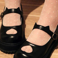 Kitty cat ears hollow cut out heart black shoes