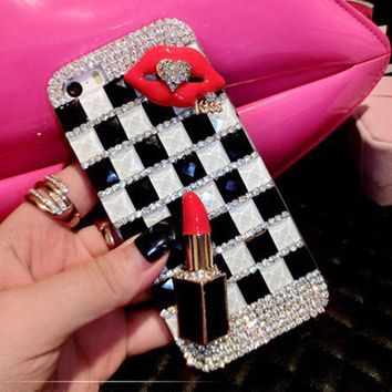 Sunjolly Diamond Case for iPhone X 8/8 Plus 7/ 6/ 6s Plus 5s 5 SE 5C 4s 4 Lips Bling Crystal Rhinestone Phone Cover coque capa