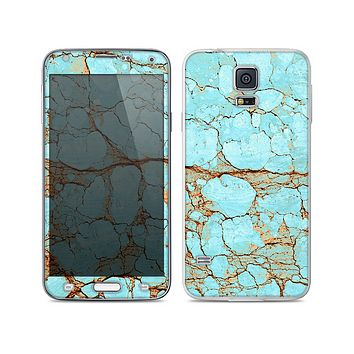 The Cracked Teal Stone Skin For the Samsung Galaxy S5