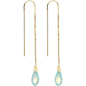 Green Gem 14KT Gold Threader Earrings Created with Swarovksi Crystals
