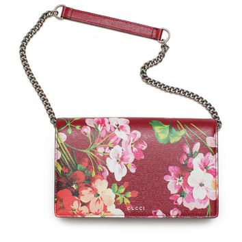 Gucci Red Wallet Italy Chain Shanghai Blooms Flowers Bag Leather Authentic New