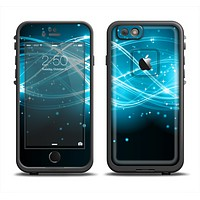 The Abstract Glowing Blue Swirls Skin Set for the Apple iPhone 6 LifeProof Fre Case