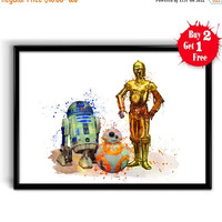 ON SALE 20% OFF Star Wars R2-D2, Bb-8, C-3Po Movie Poster, Star Wars 7 Art Print, Watercolor Star Wars, Watercolor Painting - Home Decor - K