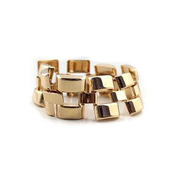 Classic Gold Brick Bangle Bracelet