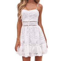 White Lace Ruffles Button Strappy Mini Lace Dress Women Floral Backless Dress Summer Flower Strappless Hollow Out Sundress#22