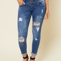 Light Wash Mid Rise Distressed Skinny Booty Jeans
