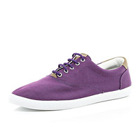 River Island MensPurple canvas lace up plimsolls