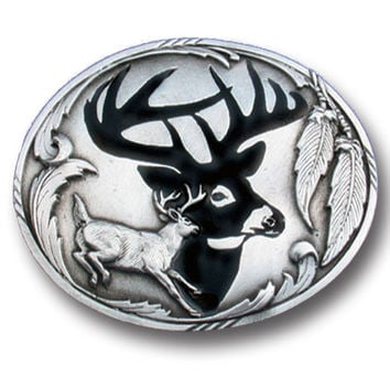 Deer Silhouette Enameled Belt Buckle