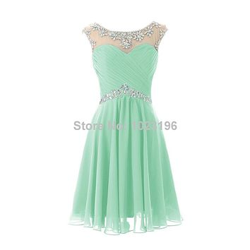 2017 Hot Sexy Short Mint Green Royal Crystal Chiffon Prom Dress Homecoming Party Dresses Short Prom Dresses Formal Party Dresses