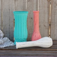 Shabby Chic Vases, Aqua, Coral, White, Painted, Distressed, Glass, Wedding Decor, Set of 3, Centerpiece, Rustic