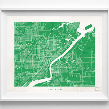Ohio, Toledo, Print, Map, OH, Poster, State, City, Street Map, Art, Decor, Town, Illustration, Room, Wall Art, Customize