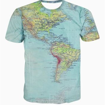 New fashion The World Map T shirt printing 3d t-shirt harajuku outfit tees top summer style Funny Graphic T-Shirt free shipping