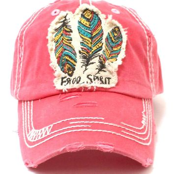 Coral Feather Free Spirit Patched Distressed Cap