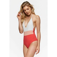 Chase Reversible Color Block Halter One Piece Swimsuit - Ivory White/Pink/Hibiscus Red & Ivory White