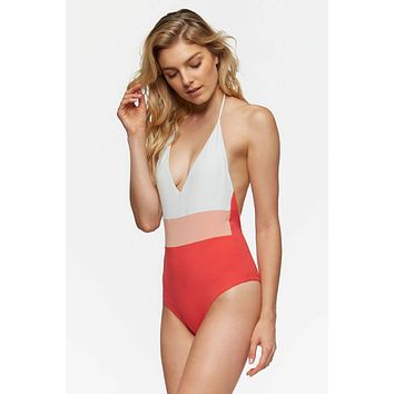 Chase Reversible One Piece Swimsuit - Hibiscus Color Blocking/White