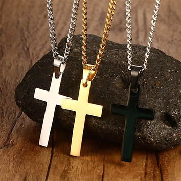 1 Pc 2017 Newest Men Cross Pendant Necklace Stainless Steel Link Chain Necklace Statement Jewelry Necklace Nice Gift