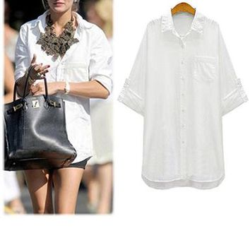 Women's Shirt - Over Sized Classic Button Up / Long Hemline / Front Pocket