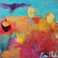 "Colorful Acrylic Painting, Small Original Abstract, Figures, Angel, Spirit Guide, ""Give the Owls a Place to Land"" 8x8"