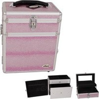 Sunrise Pink Snake Skin Textured Printing Jewelry & Makeup Case
