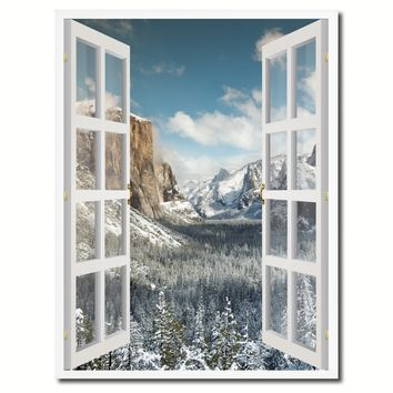 Bridal Veil Falls Yosemite National Park Winter Picture French Window Canvas Print with Frame Gifts Home Decor Wall Art Collection