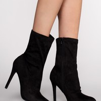 Skyee Sock Booties - Black Suede