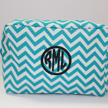 Personalized Makeup Bag - Aqua and White Cosmetic Bag - Chevron Makeup Bag