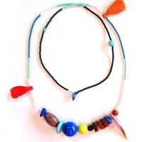 Asymmetric Seed Bead Necklace - Long Layering Necklace - Hippie Necklace - Tassel Necklace