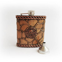 Pirates of the Caribbean, Hip Flask 7oz + Funnel, Antique copper flask, Pocket Flask skull flask, pirate flask steampunk flask, gift  man