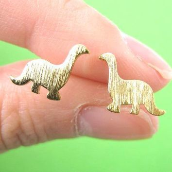 Classic Dinosaur Shaped Stud Earrings in Gold | ALLERGY FREE