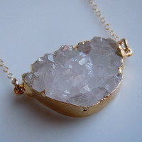 Bold Druzy Quartz Crystal Druzy Necklace In Gold by 443Jewelry