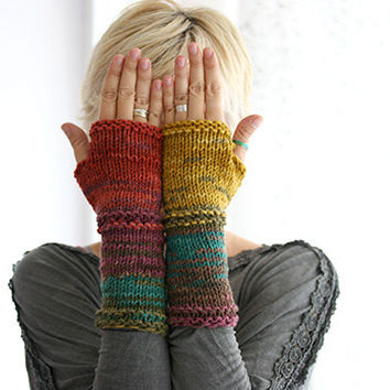 Hand knit fingerless gloves in harvest colors, Long knit gloves, Knit gloves mittens, Boho knit glove mittens, Girl's wool fingerless gloves