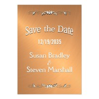 Save the Date Copper Shine White Text Magnetic Card