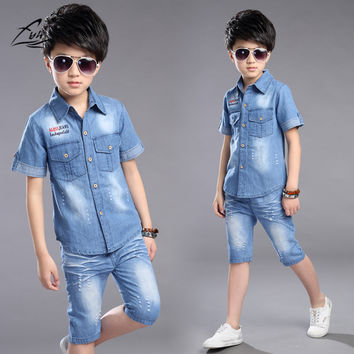 FYH Boys Clothes Summer Boys Clothing Set 2pcs Cowboy Shirt +Denim Shorts Kids Clothes Set Turn-down Collar Big Boys Casual Suit