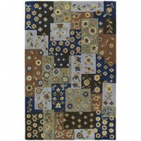 Kaleen Khazana Patchwork Blue Contemporary Rug - 6553-17-579 - Wool Rugs - Area Rugs by Material - Area Rugs