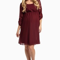 Burgundy-Chiffon-3/4-Sleeve-Maternity-Dress