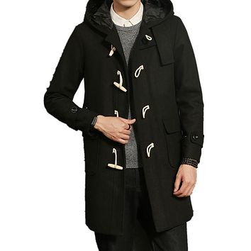 2017 New Winter Wool & Blends Jackets Men Thick Horm Button Coat Slim Fit Jackets Fashion Outerwear Warm trench Man Overcoat 5XL