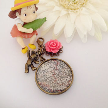 Vintage Map Midori Traveler's Notebook Charm with Resin Rose