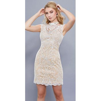 Beaded High Neck Cap Sleeves Bodycon Short Cocktail Dress Ivory-Nude