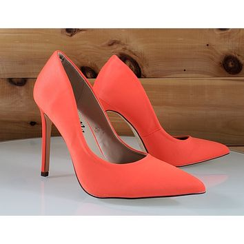 "So Me Orange Neon Sateen Pointy Toe Stiletto Pumps - 4.5"" High Heel Shoes"