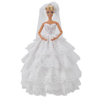 E-TING Fashion White Doll Clothes Evening Party Dress Ballgown Veil For Barbie Dolls S