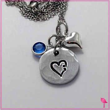 Semicolon in a heart Round Bling Chicks Necklace