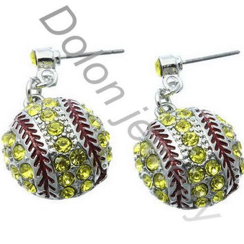 Silver Plated yellow SoftBall Post bling Earring Stud jewelry