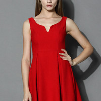 Glamorous V-neck Dress in Red Red