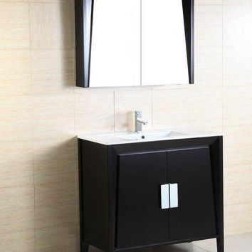 BellaTerra 500410D-ES-WH-36 Single Sink Vanity Modern Dark Espresso