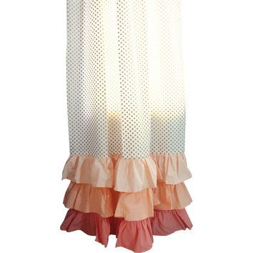 Gold Dots Curtain Panel With Ruffles
