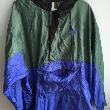 distressed 90s neon blue green black poncho windbreaker / large